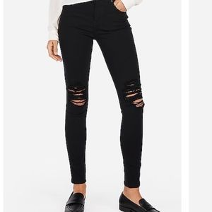 Express ripped black high rise jean leggings